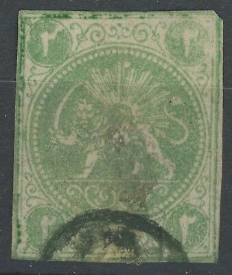 Midle East 1868 Postes Persanes 2 Shahis Yellow-Green Lion Stamp F/vfu