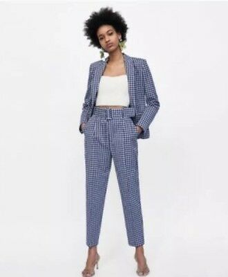 e1227b66 ZARA Gingham Check High waisted Trousers With Belt. Size L Like The Pink One