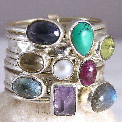 9-STACK SILVERSARI Rings Size US 10 Solid 925 Sterling Silver MULTIGEM STR1001