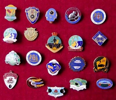 20 X Vintage Australian New South Wales Bowling Club Badges; Boolaroo/royal Nsw.