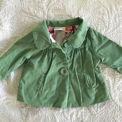 Super Cute Lightweight Green Cotton Jacket Floral  Baby Girl Size 3-6 Months 00