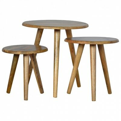 MCM Mid Century Scandi Nesting Table Set of 3 Solid Side tables Milking Stools
