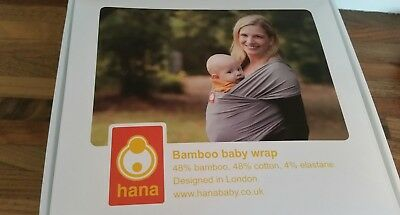 Hana Baby Wrap Blue Bamboo Organic Cotton In Great Condition