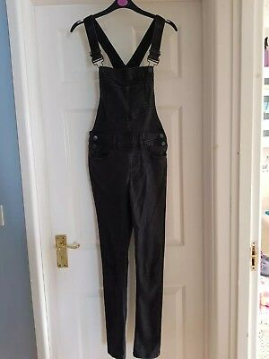 New Look Black Charcoal Skinny Fit Dungarees. UK Size 8