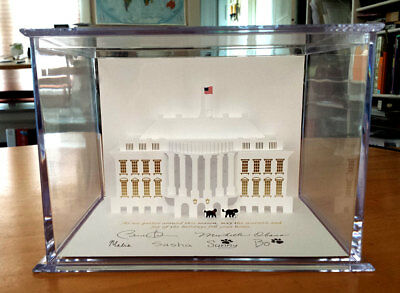 2013 Barack Obama White House Pop up Christmas card in Acrylic Display Case