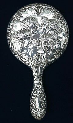 *VERY NICE Vintage Sterling Silver Cherub Hand Glass Mirror BROADWAY Birmingham