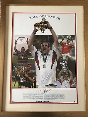 Martin Johnson Signed Roll Of Honour  Large Framed Display - England Rugby