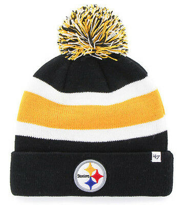 0dd8b3dd07e Pittsburgh Steelers Nfl Breakaway Winter  47 Knit 3-Tone Pom Beanie Cap Hat  Nwt