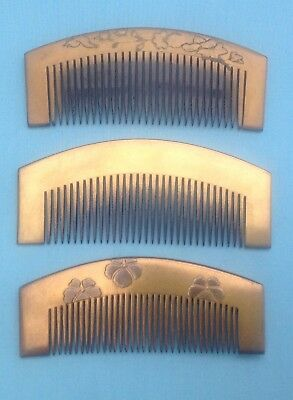 H1198B Three 3 Antique Japanese Gold Lacquer Kushi Comb Hair Ornaments
