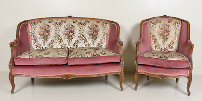 Fine Quality Vintage French Sofa and Armchair Antique Carved Walnut Lounge Chair