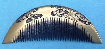 H1121B Antique Traditional Japanese Gold Lacquer Kushi Hair Comb Boxed