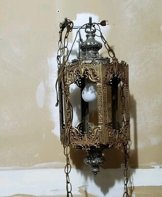 Spaniard revival vintage hanging lamp 6 sided colored panels swag lamp