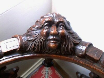 Rare Antique 19Th C Solid Oak Carved Green Man Corner Chair, Monkey Head Arms
