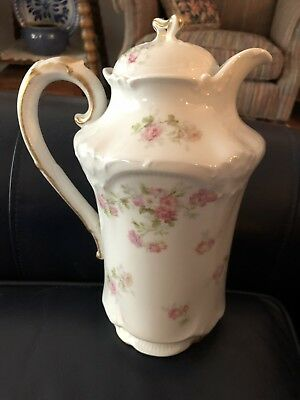 """Antique Chocolate Pot Hand Painted Lovely Flowers w/ Gold Limoges """"Old Abbey"""""""
