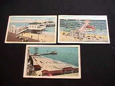 3 Beach, Ocean & Heinz Pier Atlantic City, New Jersey Postcard Views