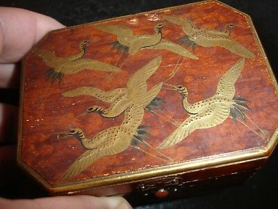 old antique black Japanese Urushi lacquer meiji makie wood box w gold Crane bird