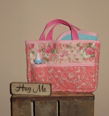 Handmade Quilted Doll Diaper Bag Tote w/ Blanket AG ~ Bitty Baby Pink Floral