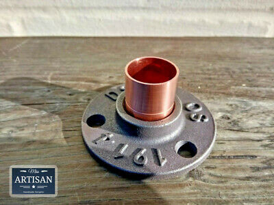 3/4 Copper Malleable Iron Floor / Wall Flange Pipe Mount Fits 22mm Copper Pipe