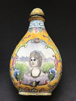 Antique Chinese Enamel On Copper Snuff Bottle Hand painted
