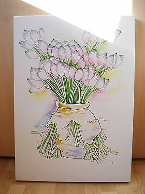 original painting flowers in the broken vase watercolour on canvas signed modern