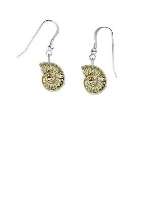 Gold Plated Ammonite on hook Earrings sterling silver 925 codek21
