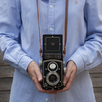 Leather camera neck / shoulder strap for Rolleicord, Rolleiflex , Yashica Mat