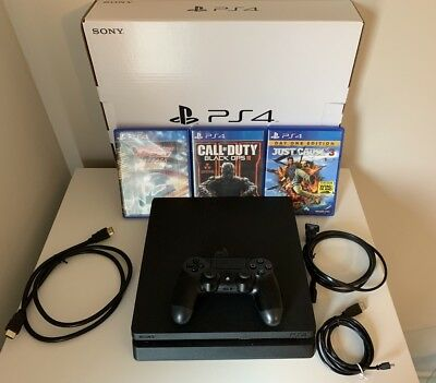 Sony PlayStation 4 Slim 1TB, Black Console, PLUS 3 GAMES, Excellent Condition