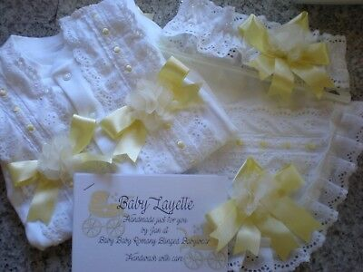 Romany Blinged Baby Anglaise front Babygro, bib & hairband set - various sizes