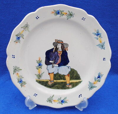 19Thc Plate French Faience Hb Quimper Bagpipe Player Folk Art Tin Glaze Plate
