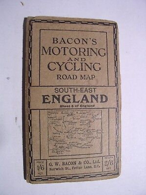 Bacons Motoring and Cycling Road Map South-East England