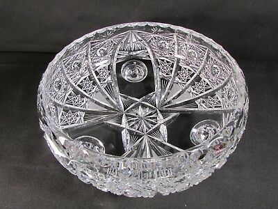 Large Lead Crystal Cut Glass Bowl With 3 Legs