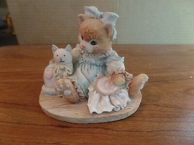 1992 Enseco Calico Kittens Friendship is Sewn Stitch by Stitch Figurine #2531