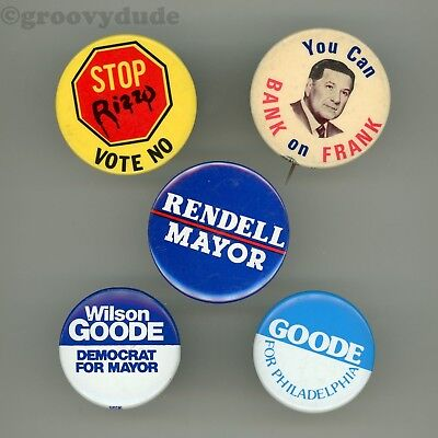 Ed Rendell Goode Frank Rizzo Philadelphia Mayor Campaign Pin Pinback Button Lot
