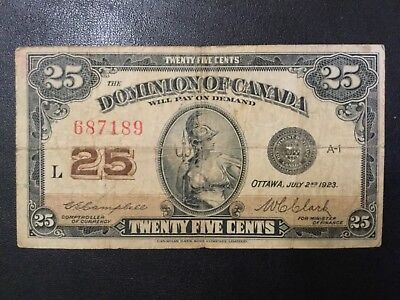 1923 Canada Dominion Paper Money - 25 Cents Banknote!