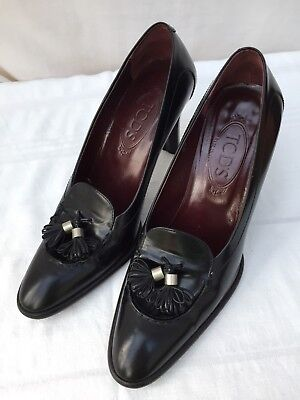 TODS Black Leather Heels Size 39 UK 6
