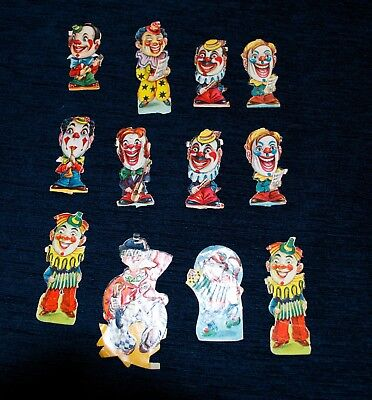 Scandinavian Decoupage Påklædningsdukker Glansbilleder CLOWNS from 1940s Lot 8