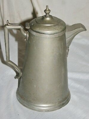 Antique Pewter Pitcher Coffee Tea Pot With Hinged Lid & Spout