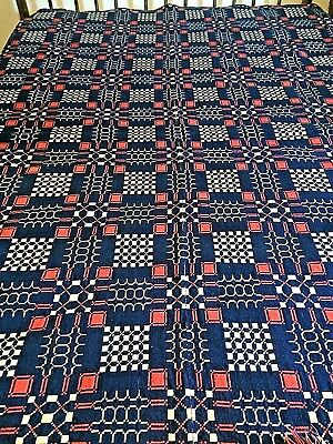 Antique 1840's Reversible Woven Overshot Red White & Blue Coverlet