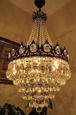 Antique Vnt. big French Basket Style Crystal Chandelier Lamp Light 1940's.16 in