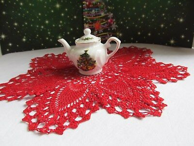 Miniature China Ceramic Christmas Teapot on Hand Crocheted Vintage Red Doily