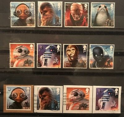2017 Gb Star Wars Used Stamp Set Plus Self Adhesive Used Booklet Set