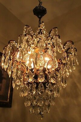 Antique Vnt. HUGE French SPIDER Style Crystal Chandelier Light LAMP 1940's 16 in