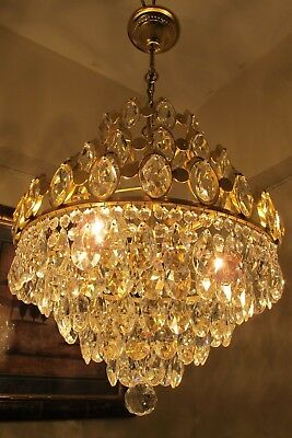 Antique VNT. big FRENCH Basket style Crystal Chandelier Light Lamp 1960's 15 in.