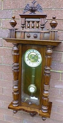 Antique wall clock 8 day by F.M.S.Germany Vienna type striking the half & hour