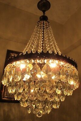 Antique Vintage BIG French Basket style Crystal Chandelier Light 1940's 15 in..