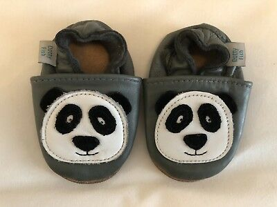 Dotty Fish Grey Panda Crib Slip On Shoes 0-6 Months