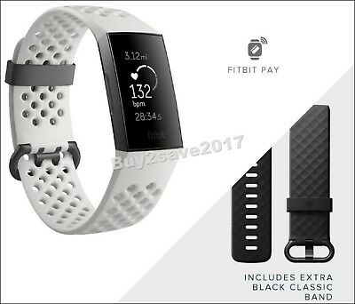 Fitbit Charge 3 SE Fitness Activity Tracker Graphite/White Silicon S & L Bands