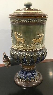 19Th Century Doulton Lambeth Stoneware Water Filter With Four Raised Deer Stags