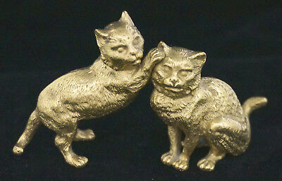 Antique Signed Austrian Gilt Bronze Miniature Cat Figurine Statue 4 x 2.5""