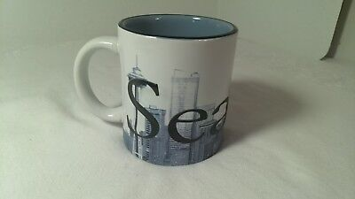 Seattle Coffee 3D Mug Cup Souvenir White Blue The Emerald City 12 Fl oz Ceramic